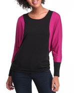 Women Swank Color Block Long Sleeve Top Pink Mediu