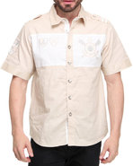 Men Nautical Short Sleeve Woven Shirt Khaki Large