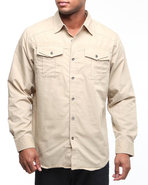 Mo7 Men Most Offical Button Down Shirt Khaki Large