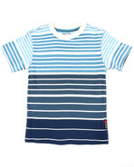 Boys Y/D Stripe Crew Neck Tee (4-7) Light Blue 4 (