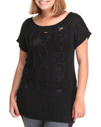 Women Open Weave Tunic (Plus) Black 1X