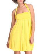 Women Halter Sun Dress Yellow Small