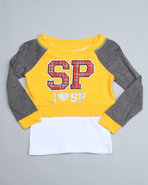 Girls Pullover 2Fer Top (4-6X) Yellow 5