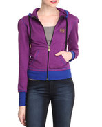 Women Long Sleeve Active Hoodie Purple Small