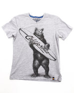 Boys Surfer Bear Tee (8-20) Light Grey 10/12 (M)