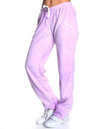 Women Fleece Pajama Bottoms Purple Small