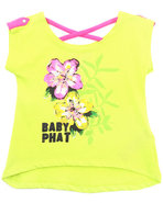 Girls Hi-Lo Graphic Top (2T-4T) Lime Green 4T