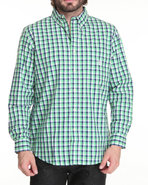 Men Kiwah Check L/S Button Down Shirt Green Medium