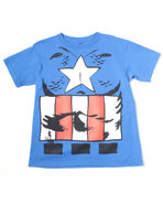 Boys Captain America Body Tee (8-20) Blue Small