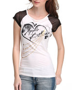 Women Sheer Sleeve Raglan Graphic Tee Ivory Large