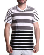 Men Stripe V-Neck Tee Black Xx-Large
