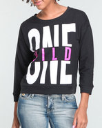 Women Wild One Pullover Sweatshirt Black Large