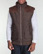 Men Padded Herringbone Wool Vest Brown Xx-Large