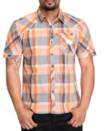 Lavie Men Dubai Plaid S/S Button-Down Orange X-Lar