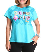 Coogi Women Dope Chick Tee W/Print (Plus) Teal 2X