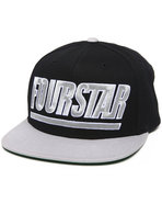 Men Slant Starter Snapback Cap Black