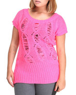 Women Open Weave Tunic (Plus) Pink 1X