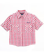 Boys Plaid Woven Shirt (8-20) Red Large