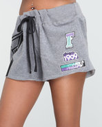 Women Famous Stars & Straps Rally Girl Shorts Grey