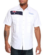 Coogi Men Expedition S/S Button Down Shirt White L