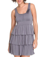 Women Ruffle Tiered Sun Dress W/ Flowers Grey Smal