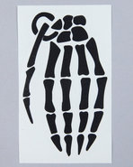 Men Skeleton Grenade 4  Die Cut Sticker Black