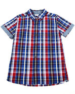 Levi's Boys Belgrade Plaid Woven (8-20) Red Medium