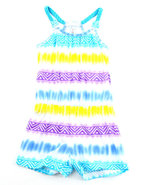 Girls Tie Dye Romper (4-6X) Blue 6X (L)
