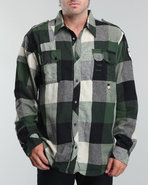 Men Custom Front Flap Pocket Plaid Woven Shirt X-L
