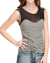 Women Jeweled Shoulder Illusion Striped Top Ivory