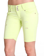 Women 3 Button Bermuda Jean Short Yellow 7/8