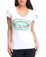 Women V-Neck Tee White Small