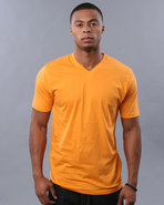Men V-Neck Tee Orange X-Large