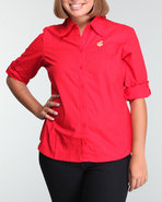 Women Rookie Back Logo Woven Top Red 2X