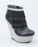 Women Rosalia Fringe Rings Platform Bootie Navy 7
