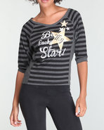 Women Stripe Pullover Black Large