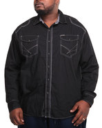 Men Washed Poplin W/ Graphic (B&T) Black 4X