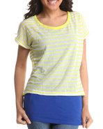Women 2-Fer Top W/Stripes Blue Large