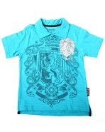 Boys Graphic Slub Polo (4-7) Blue 5/6 (M)