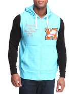 Men French Terry Hoodie Vest W/ Patch Detail Light