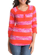 Women Lace Detail Stripe Jersey W/ 3/4 Sleeve Oran