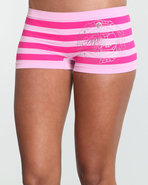 Women Stripe Across Ab Seamless Boyshort Pink Larg