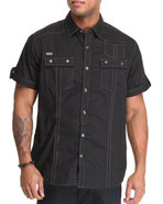 Mo7 Men Poplin Thick Stitch Button Down Shirt Blac