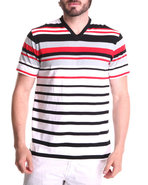 Men Engineered Stripe V-Neck Tee Red X-Large