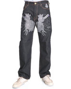 Men Skull/Roses Front-Stoned Denim Jeans Dark Wash