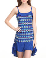 Women Hi-Low Hem Striped Knit Dress Blue Medium