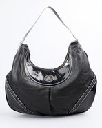 Women Metallic Whip Stitch Hobo Black