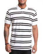 Men Georgetown Custom Fit Stripe Polo White Large