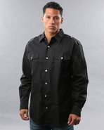 Men Military Woven Shirt Black Medium
