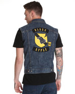 Men Sleeveless Denim Vest W/ Back Panel Patch Deta